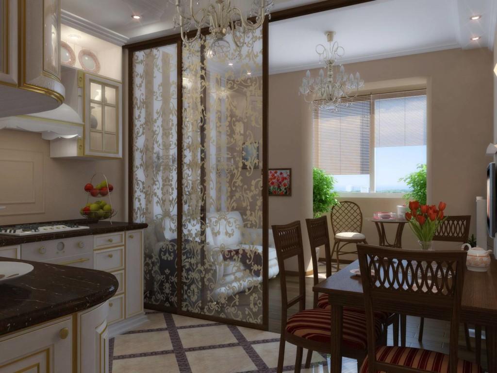 Зонирование гостинной и кухни 12 кв.м. легкой ширмой