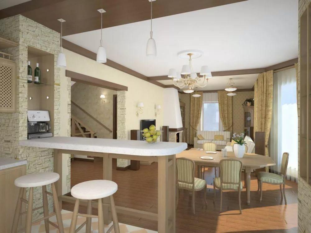 Зонирование гостиной-кухни барной стойкой