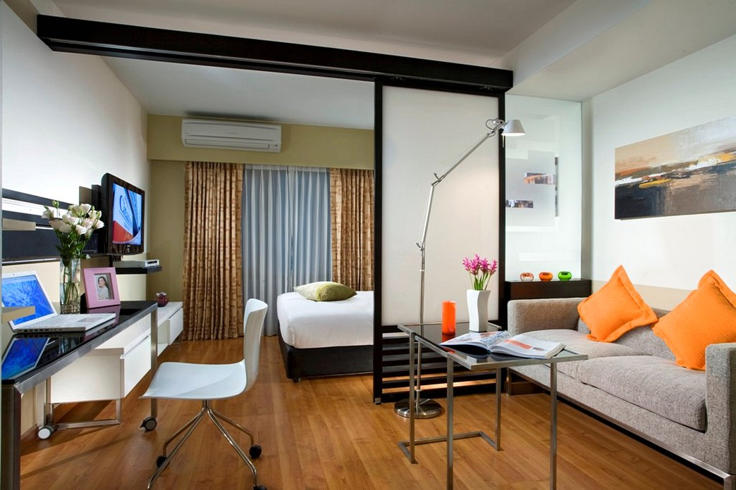 Зонирование гостиной объединеной со спальней