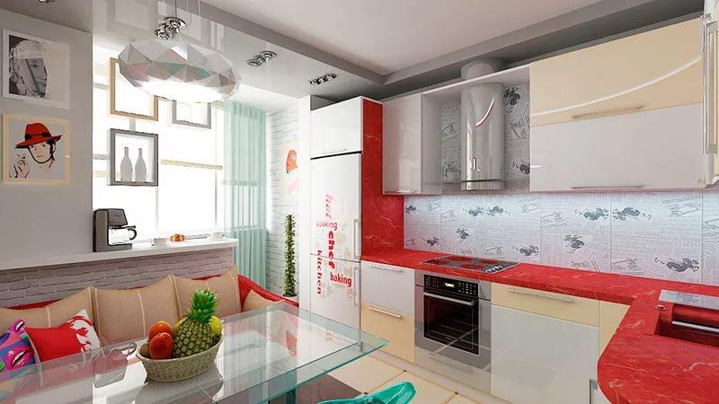 Зонирование кухни совмещенной с балконом