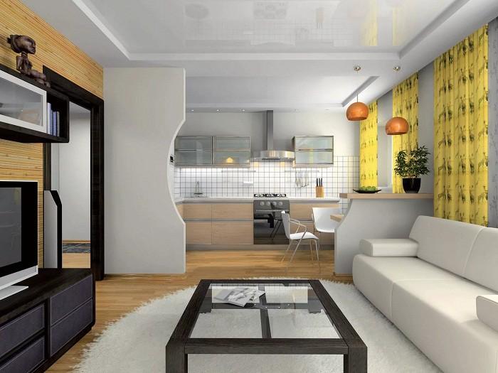 Зонирование кухни 12 кв.м. высокой перегородкой