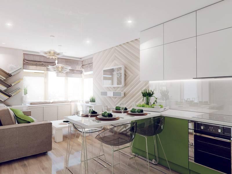 Зонирование кухни 12 кв.м. низкой перегородкой