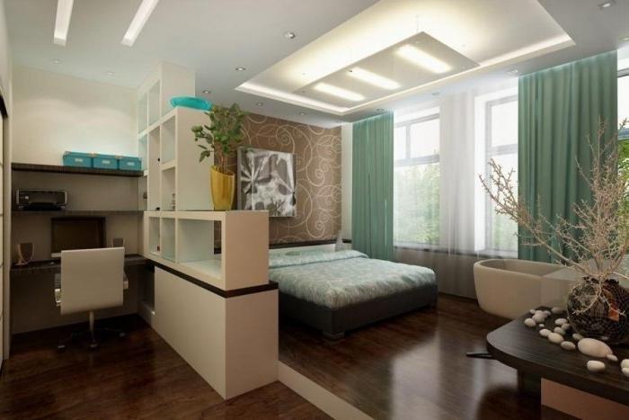 Зонирование на полу однокомнатной квартиры