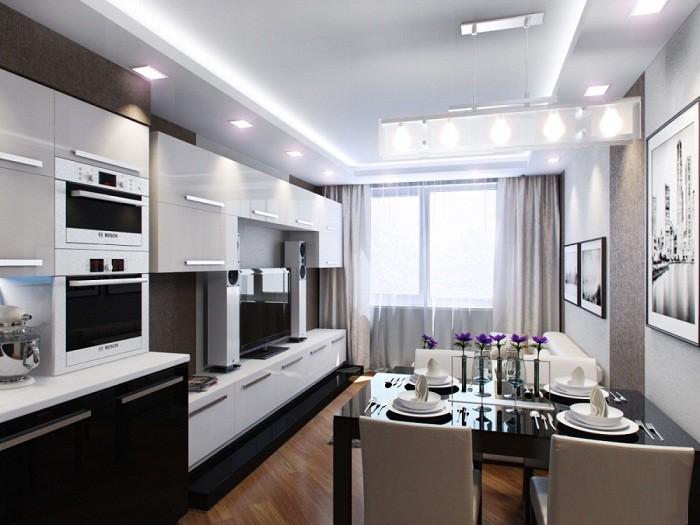 Зонирование объединенной гостинной и кухни 12 кв.м.