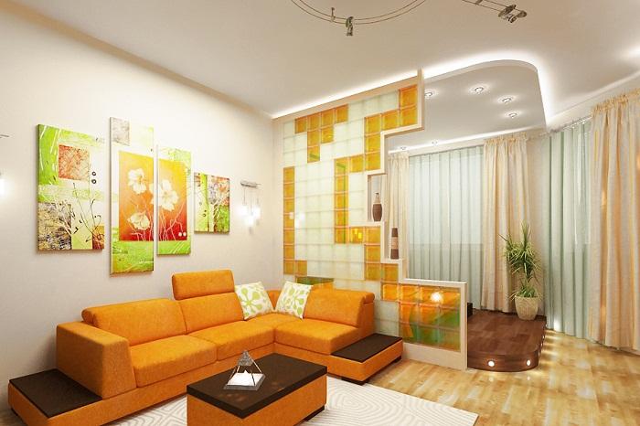 Зонирование однокомнатной квартиры легкими перегородками