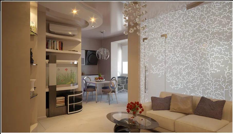Зонирование стелажами кухни в двухкомнатной квартире