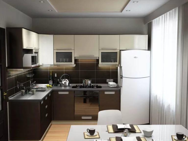 Зонирование угловой кухни