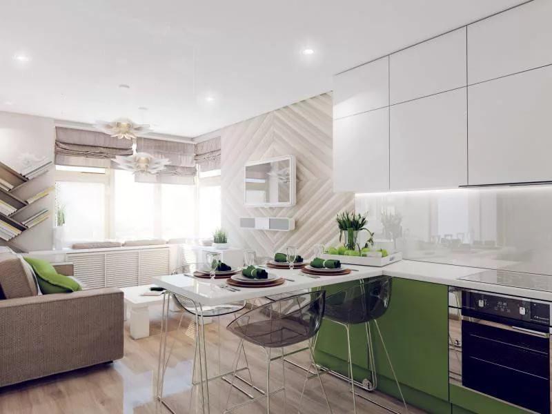 Зонирование цветом кухни 12 кв.м.