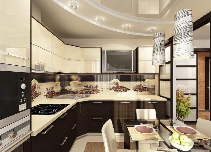 Зонирование цветом кухни 12 кв.м