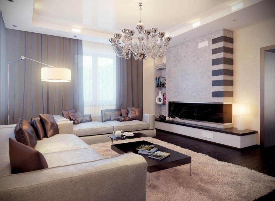 Идея дизайна интерьера гостиной-трансформера