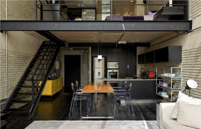 Индустриальный декор в двухуровневой квартире в стиле лофт