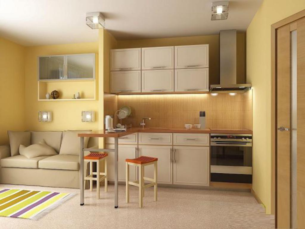 Интерьер кухни в квартире-студии 25 кв. м