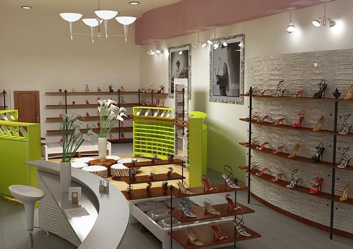 Интерьер магазина в зеленых тонах