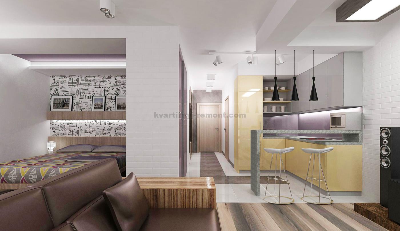 Интерьер однокомнатной квартиры в стиле хай-тек