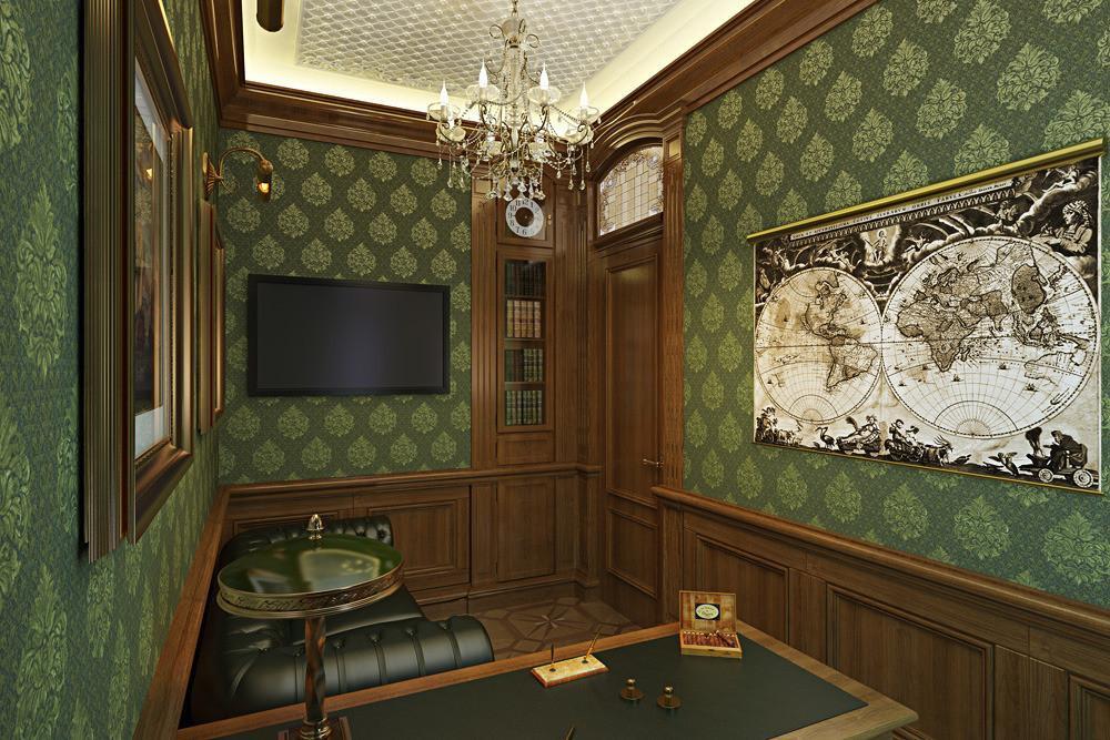 Интерьер рабочего кабинета в маленькой комнате