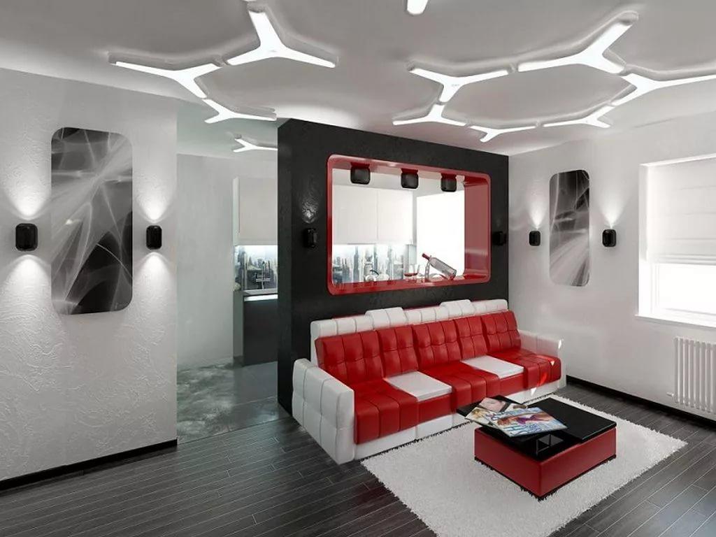 Использование мобильных перегородок в двухуровневой квартиры в стиле хай-тек