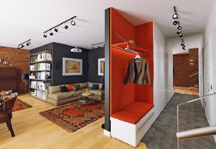 Использование перегородок в дизайне двухуровневой квартиры в стиле лофт