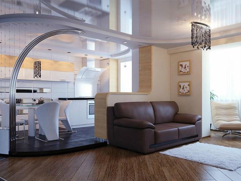 Использование подиума для зонирования гостинной-кухни