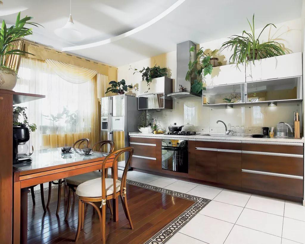 Использование растений в дизайне кухни 12 кв.м.