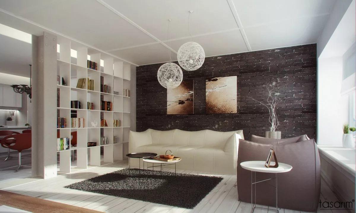 Использования стелажей в интерьере гостинной-кухни