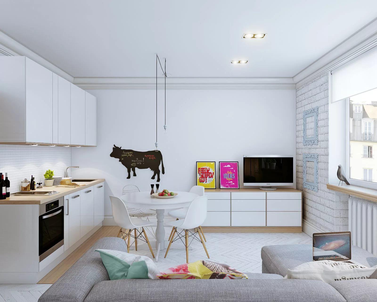 Квартира-студия 25 кв. м в скандинавском стиле