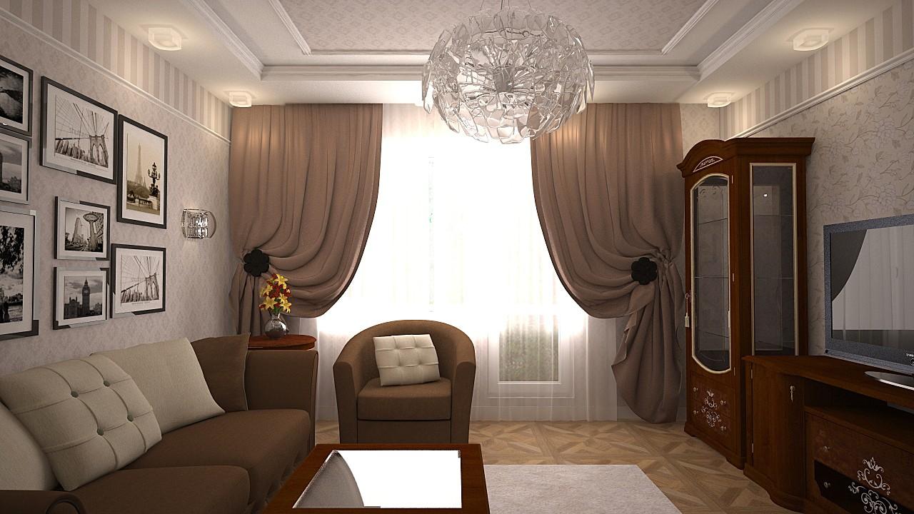Классический стиль гостинной 15 кв.м