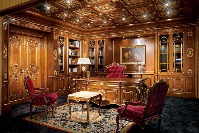 Ковры в интерьере кабинета в классическом стиле