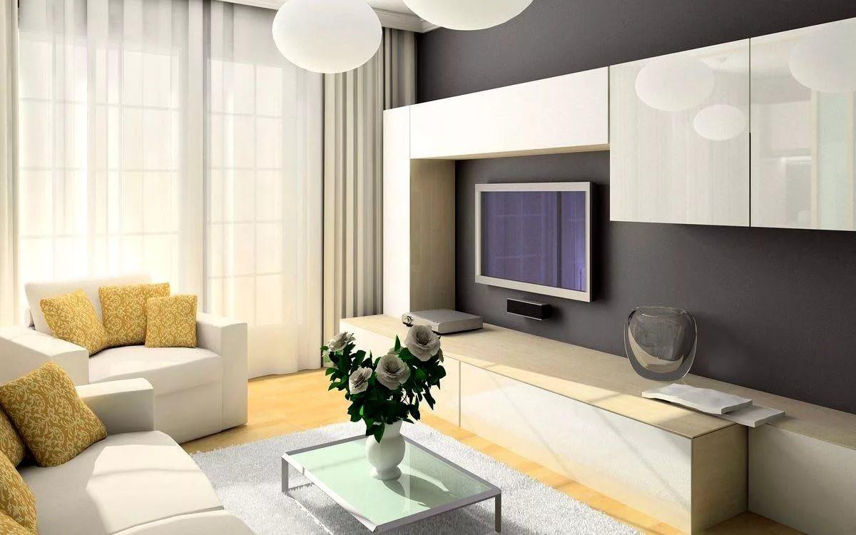 Корпусная мебель в интерьере гостиной 18 кв.м