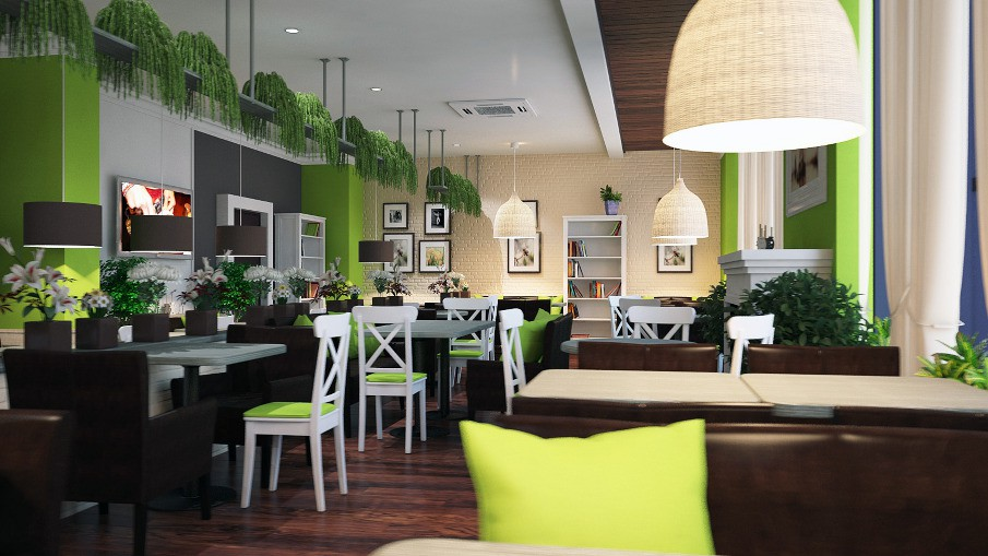 Кофейня в зеленых тонах