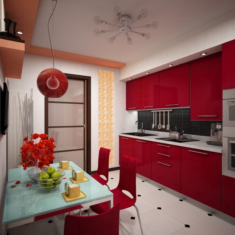 Кухня в двухкомнатной квартире в контрастных бело-красных тонах