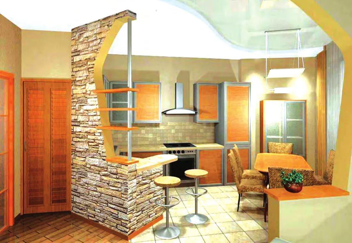 Кухня в двухкомнатной квартире в оранжевых тонах