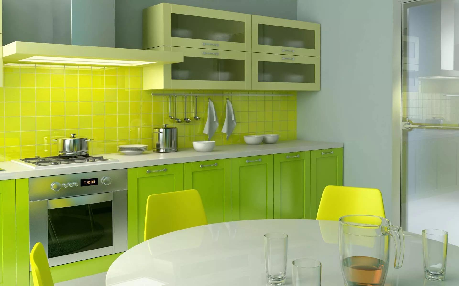 Кухня в двухкомнатной квартире в светло-зеленых тонах