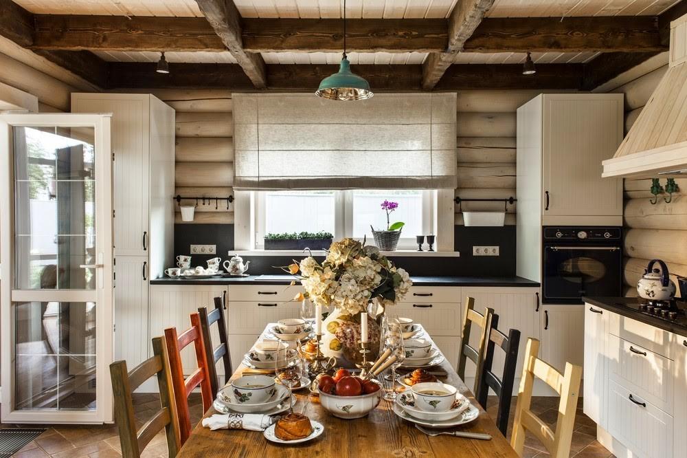 Кухня в деревянном доме скандинавского типа