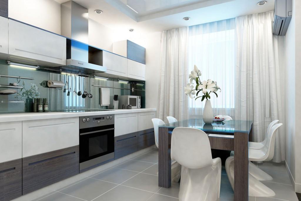Кухня 12 кв.м. в белом оформлении