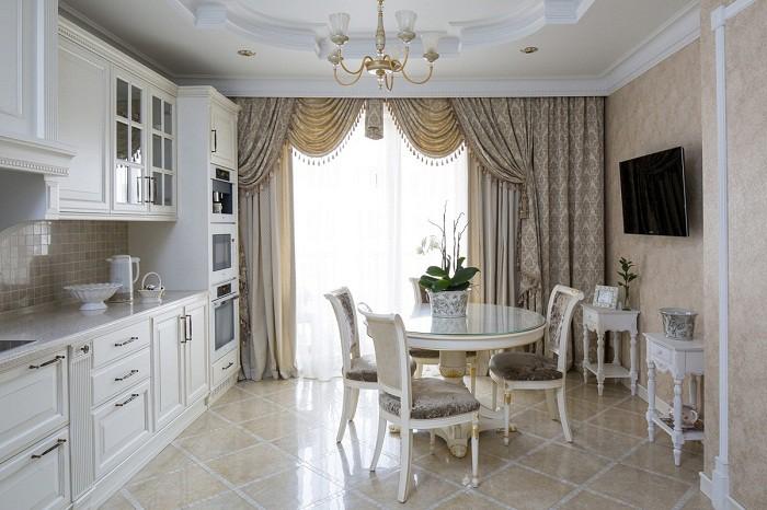 Кухня 12 кв.м. в неоклассическом стиле