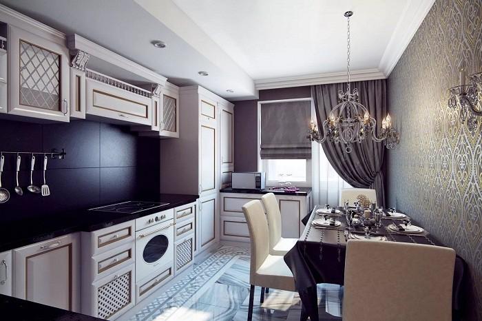 Кухня 12 кв.м. в стиле арт-деок
