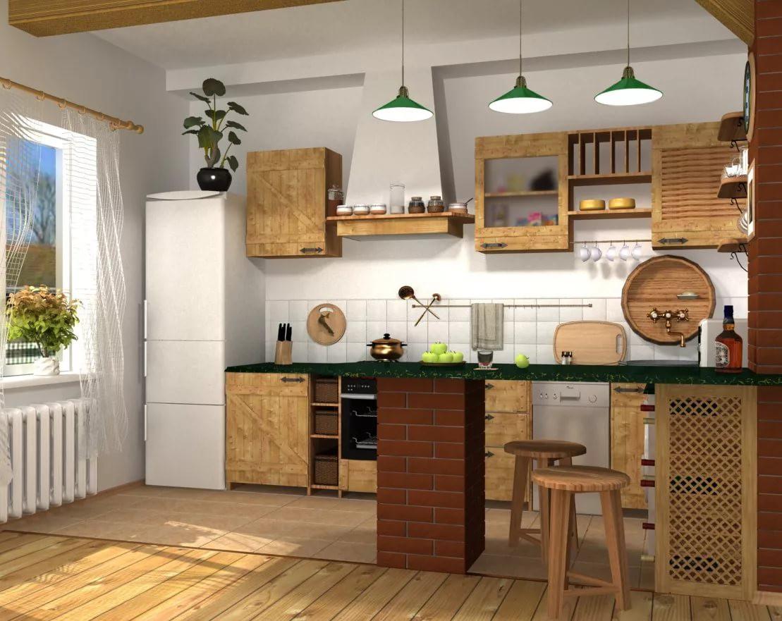 Кухня 9 кв. м. в стиле кантри