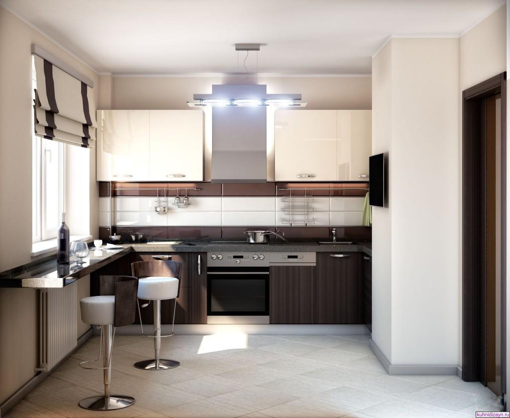 Кухня 9 кв. м. в стиле хай-тек