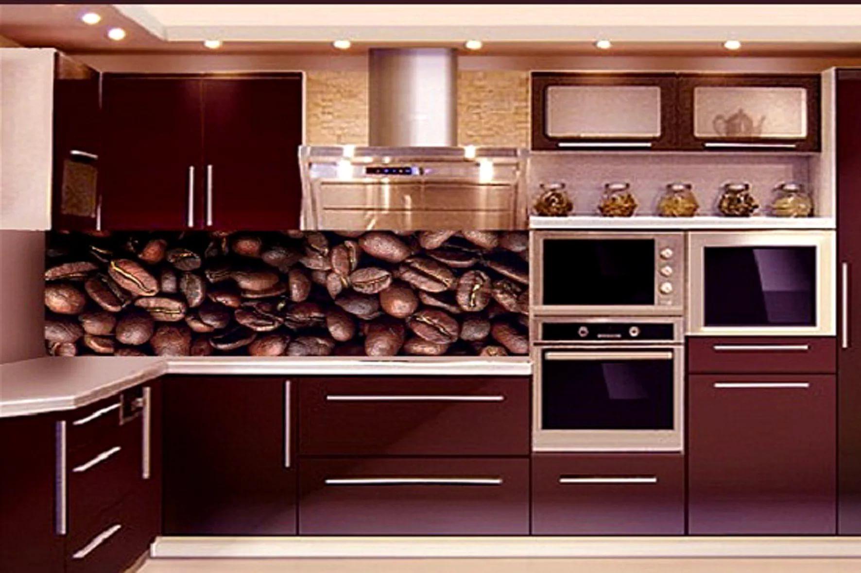 Кухонный фартук в ддизайне угловой кухни