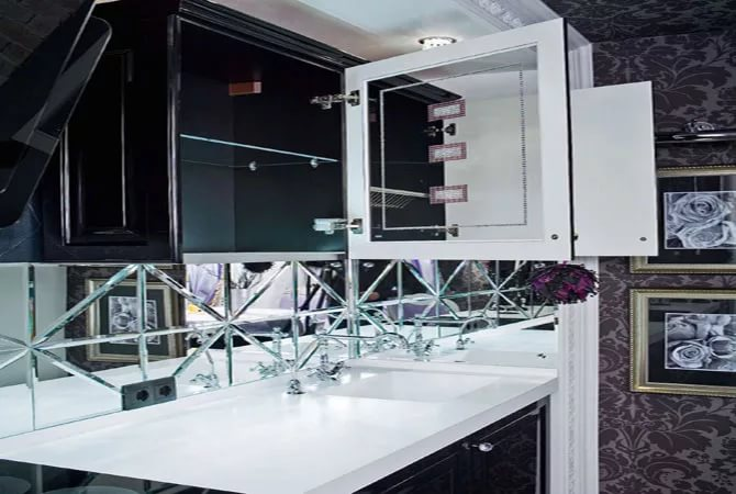 Кухонный фартук из зеркал