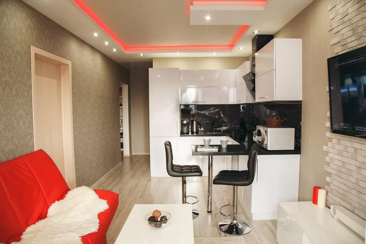 Легкая мебель в интерьере квартиры-студии 25 кв. м