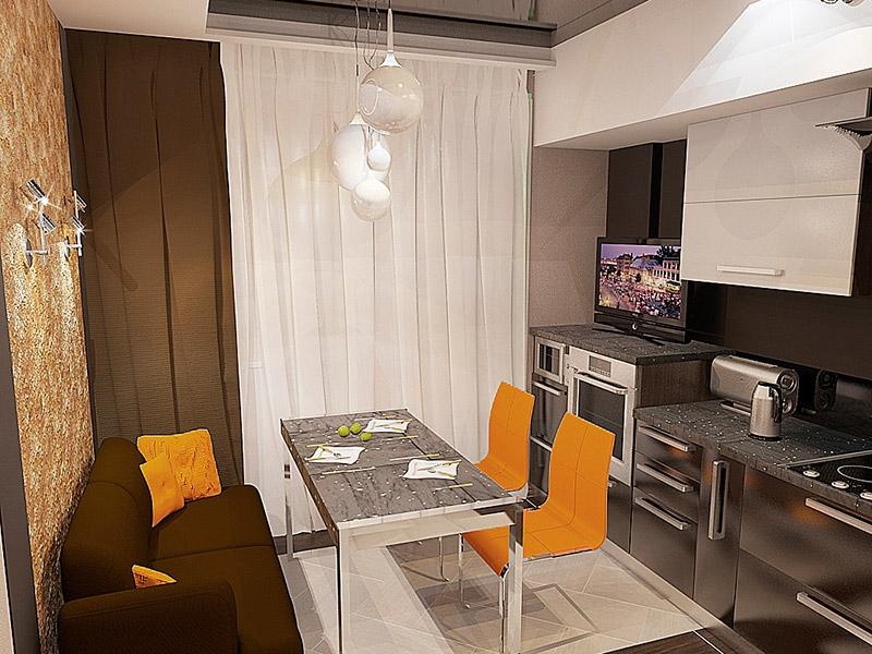 Линейное размещение мебели на кухне в двухкомнатной квартире