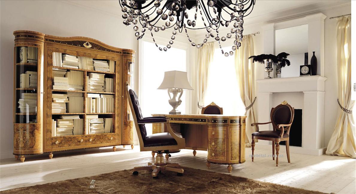 Люстра в интерьере кабинета в классическом стиле
