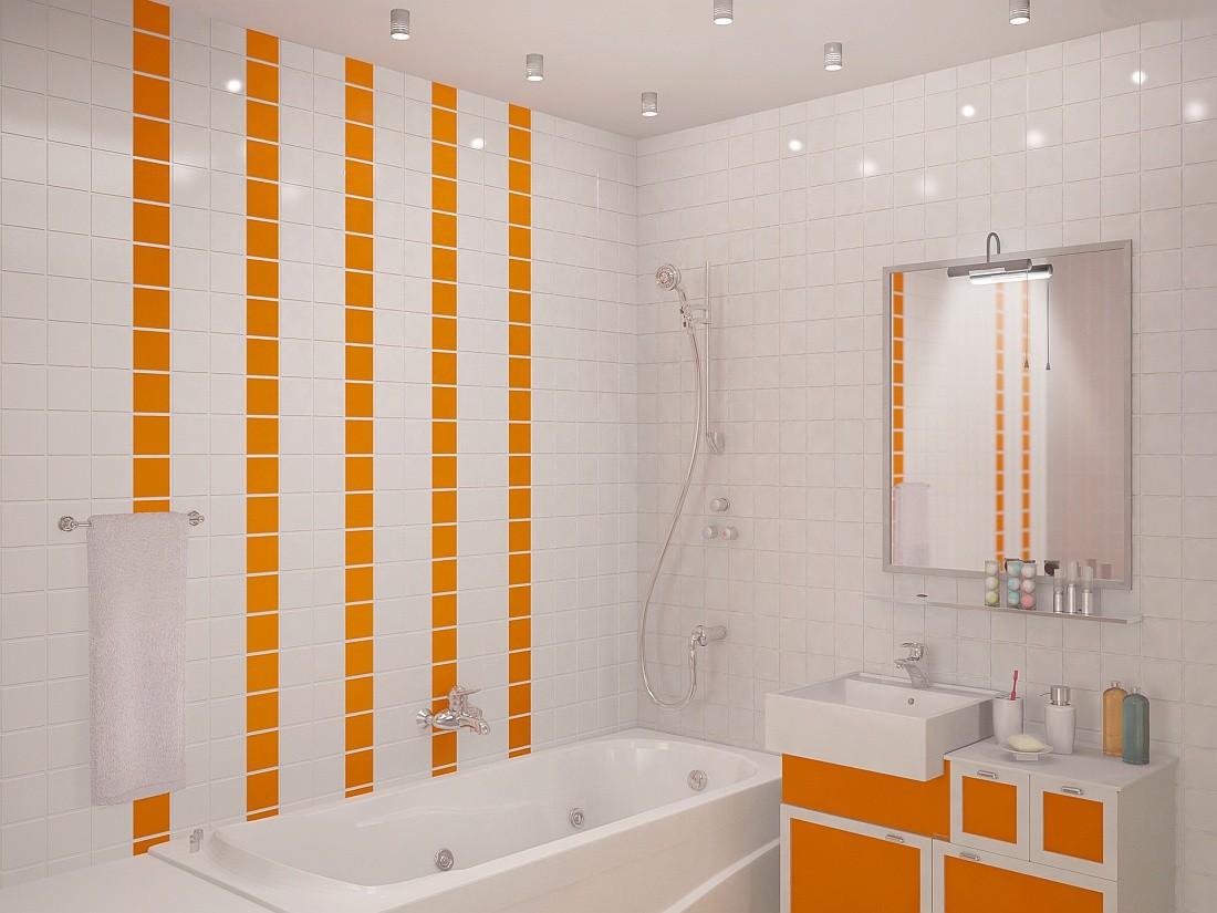 Маленькая ванна в бело-оранжевом цвете