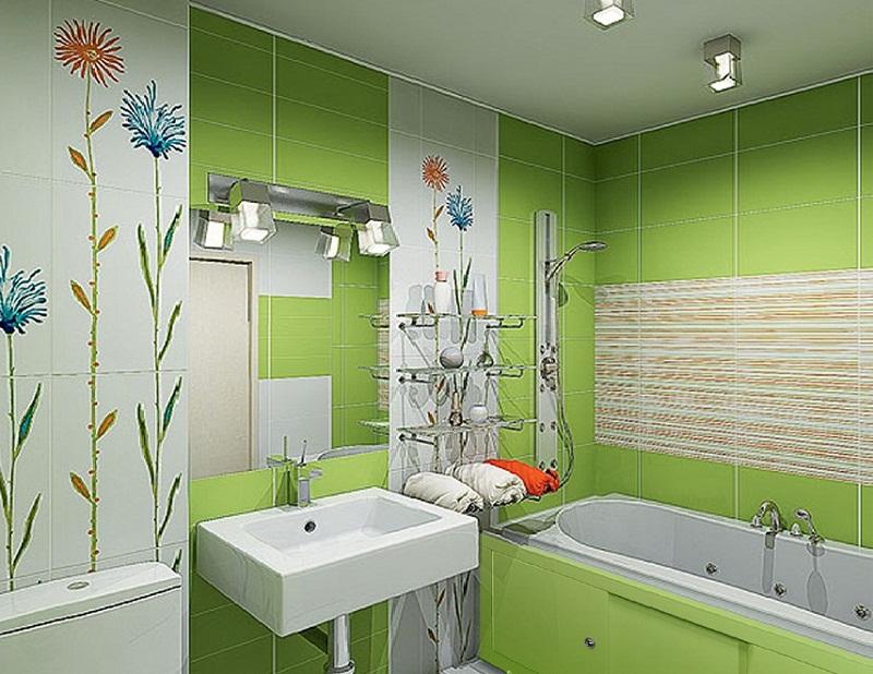 Маленькая ванна светло-зеленого цвета
