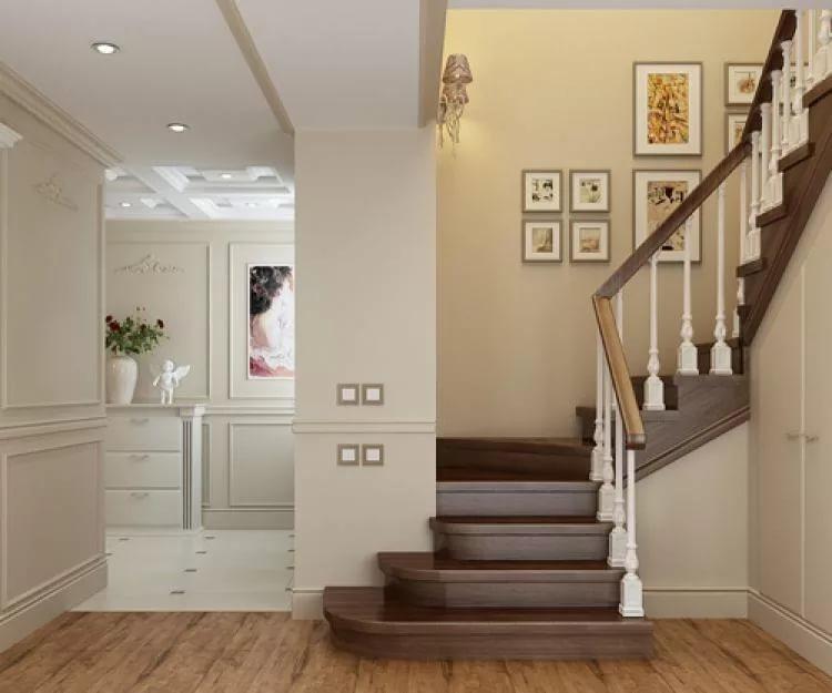 Маршевая лестница в дизайне двухуровневой квартиры
