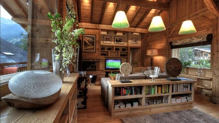 Мебелировка деревянного дома в стиле шале