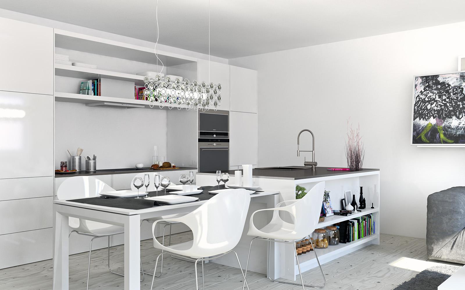 Мебелировка кухни в двухкомнатной квартире