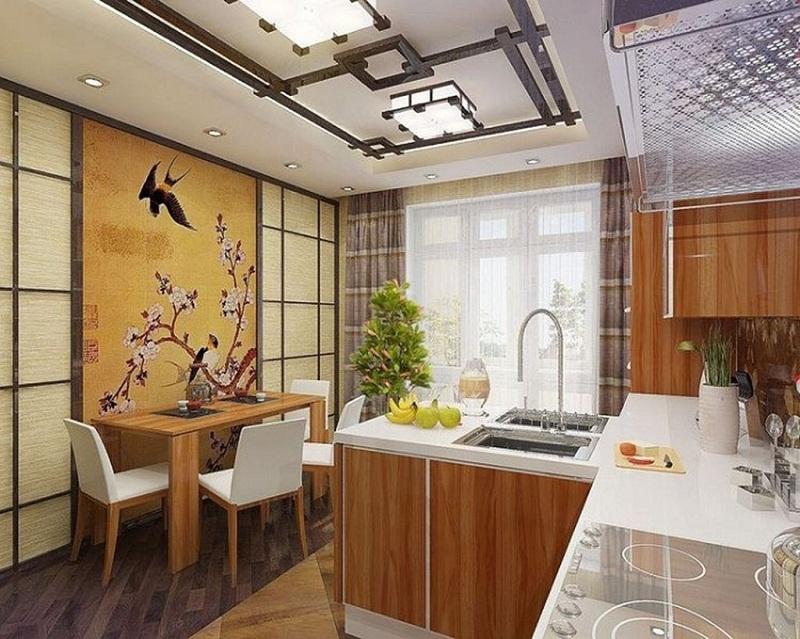 Мебелировка кухни в японском стиле