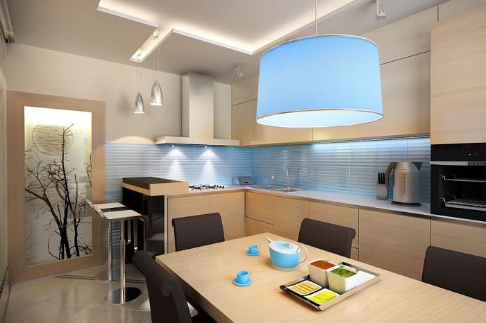 Мебелировка кухни 12 кв.м. в стиле минимализм